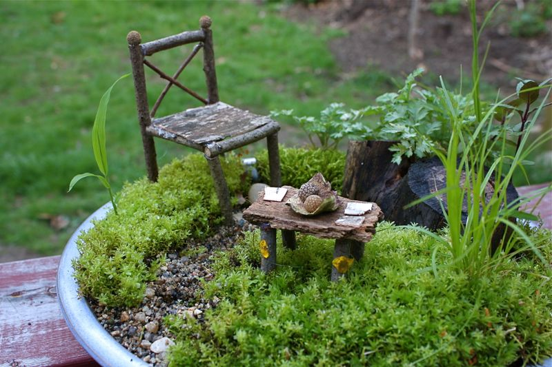 Fairy Garden Wire And Polymer Clay Furniture