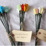 Fabric flower invitations@lovely little parties