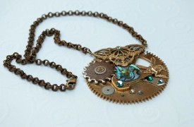 Clock gear necklace by  Mortal Coil Jewelry