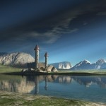 Towers by a lake via Fantasy Art Design