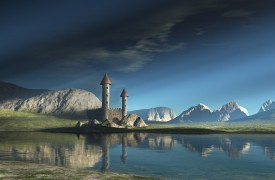 Towers by a lake via Fantasy Art Design